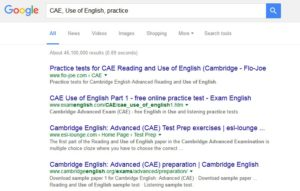 CAE, Use of English, practice Google search for
